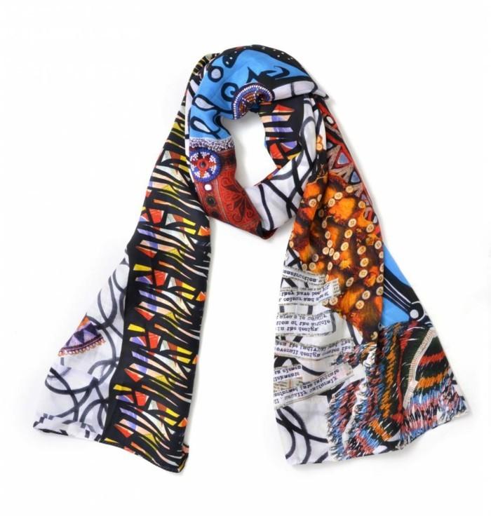 foulard-africain-multicolore-décoration-noire-en-forme-géometriques-ethniques