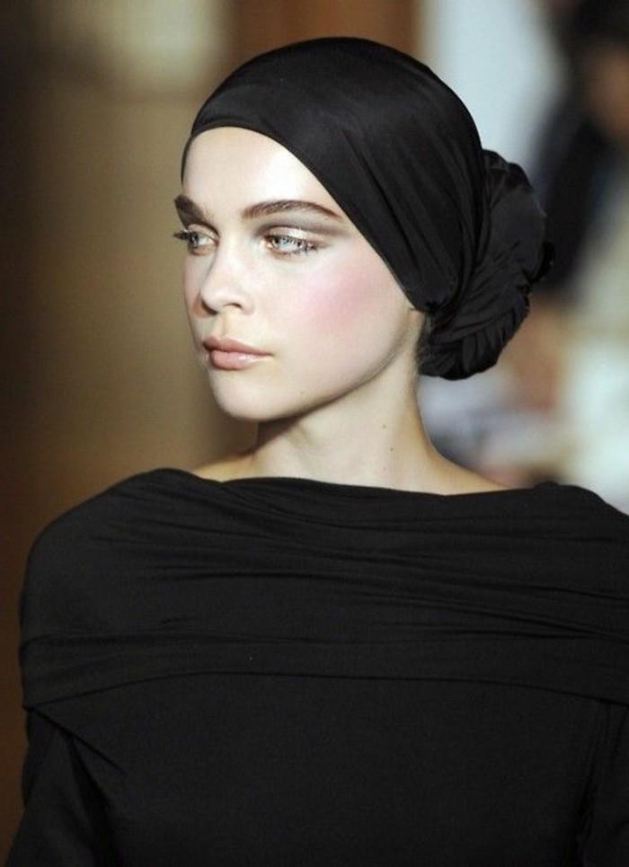 foulard,cheveux,foulard,noir,tordu,autour,du,chignon
