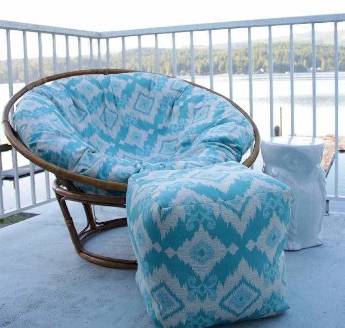 galette de chaise déhoussable couverture rokingchair diy perso bleu blanc
