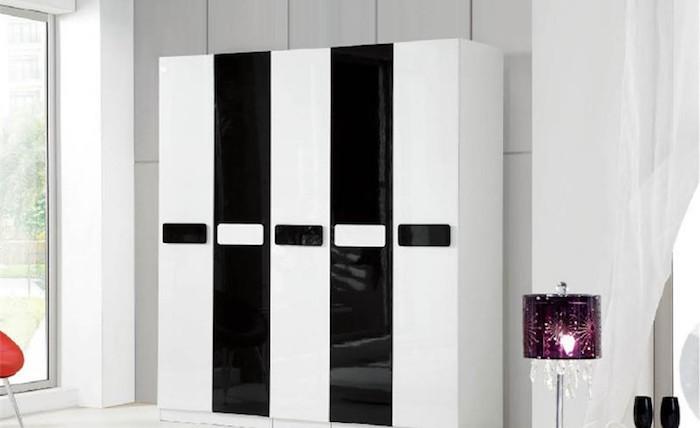 garde robe dressing design moderne blanc noir laqué brillant