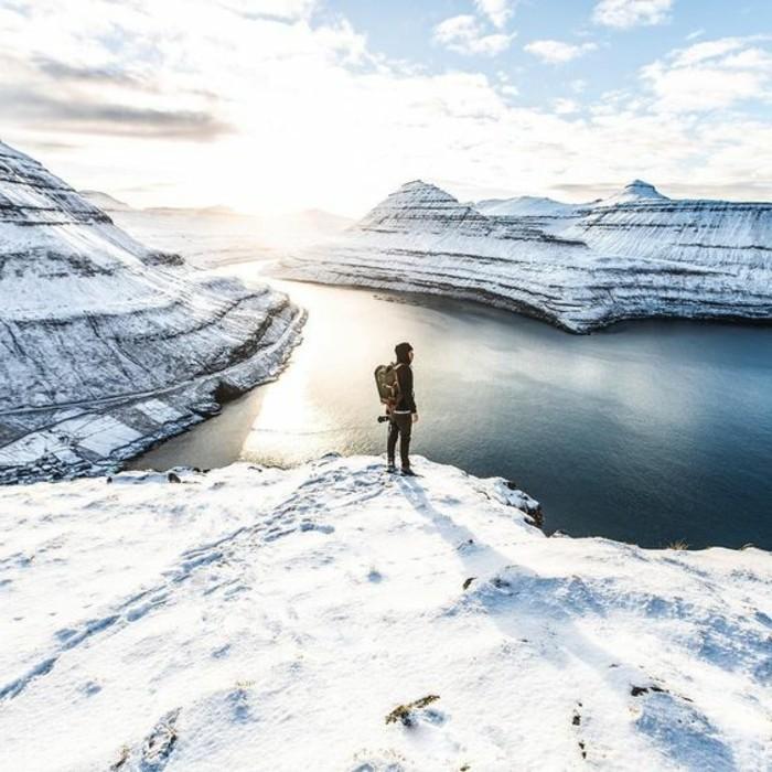 hauteur-neige-vue-d'en-haut-aventurier-bien-équipé-sac-à-dos-montagnes-et-lac