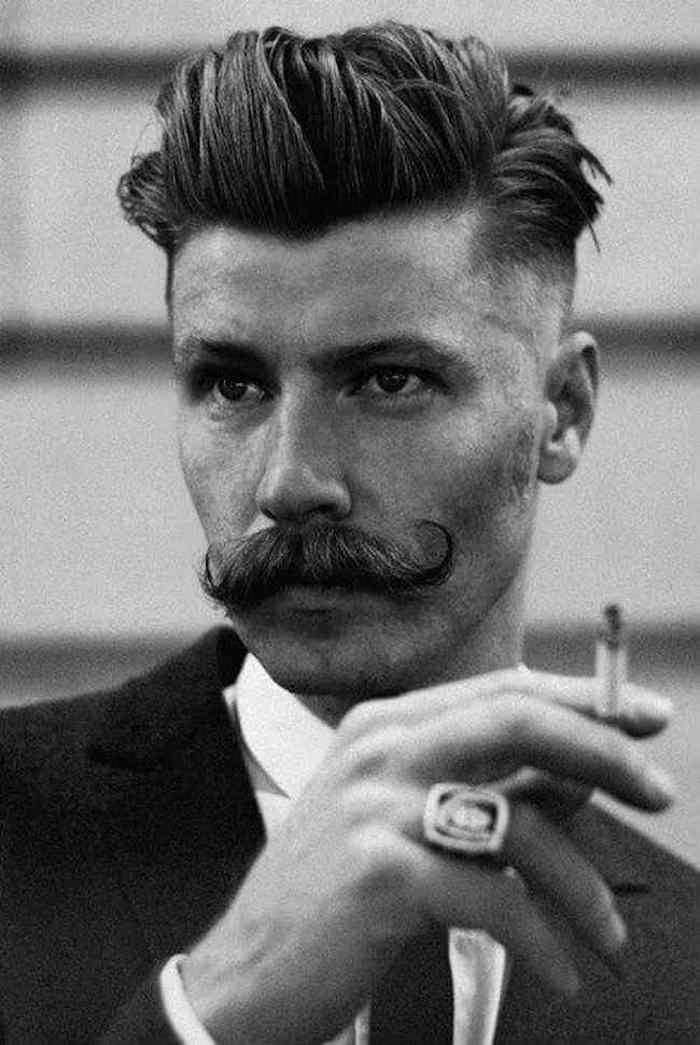 homme a moustache tailler barbe hipster porter barbe coupe pompadour hypster vintage année 20