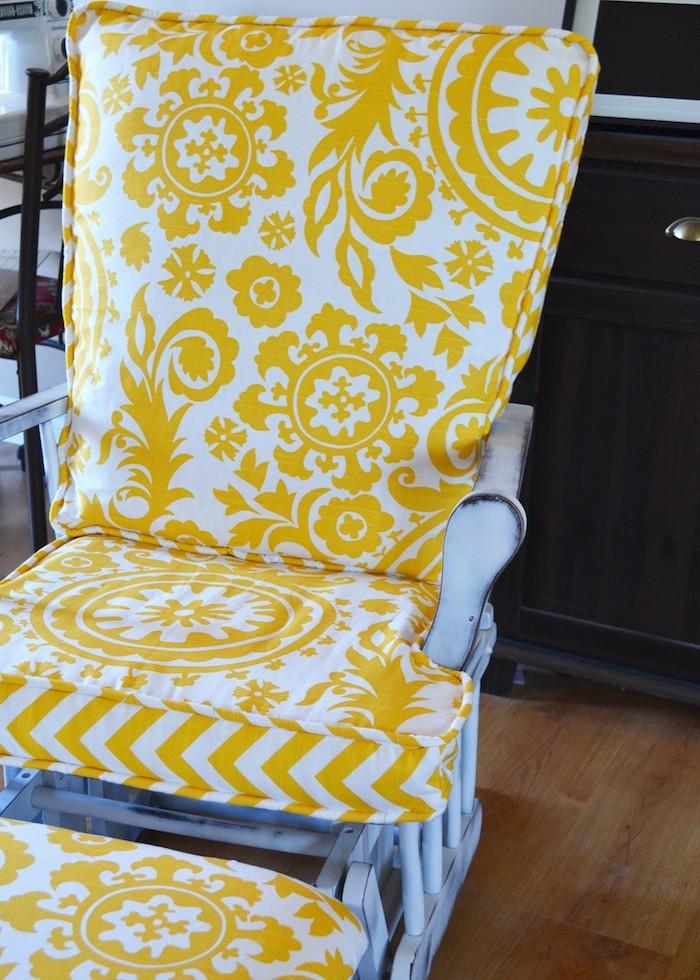 housse de chaise idée couture coussin siège jaune