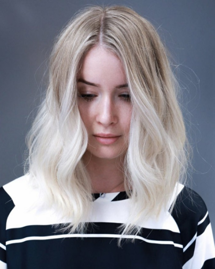 idee coloration blond platine couleur platine au carre - Coloration Blonde Platine