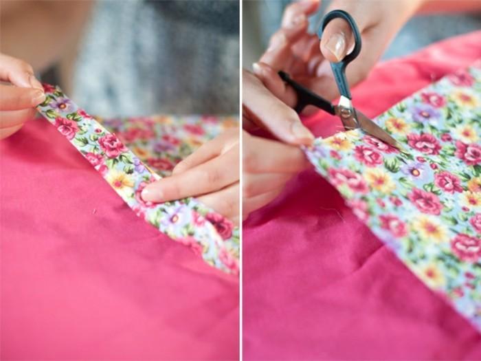 idée-fleur-de-tissu-a-motifs-floraux-a-fabriquer-soi-meme-bandes-de-tissu-plié-enroulés-sur-soi