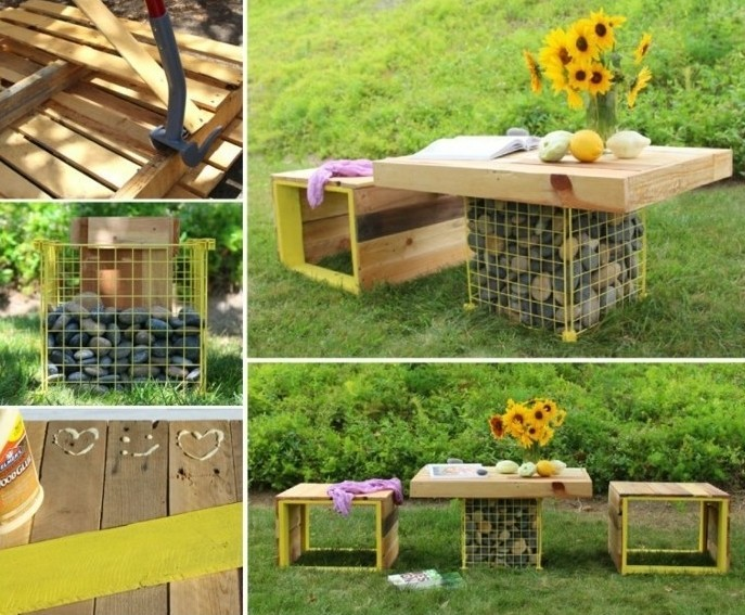 idée-intéressant-coin-repos-jardin-en-plein-air-table-gabion-et-un-banc-en-palette-a-faire-soi-meme