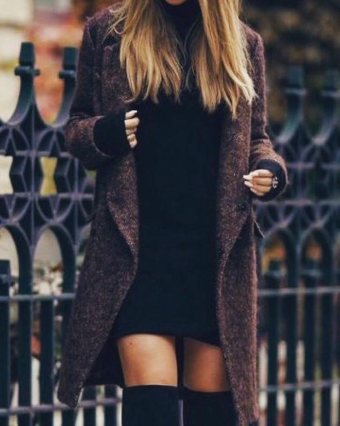 idées-mode-tenue-d-hiver-jolie-idée-hiver-actuel-robe-hiver-manches-longue