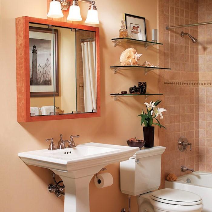 idée aménagement salle de bain vintage avec baignoire exemple