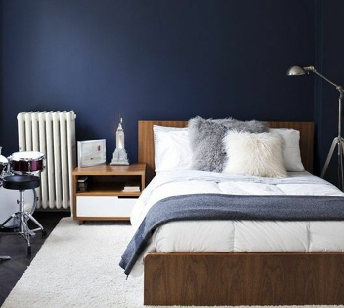 1001 id es pour une d co maison couleur indigo for Decoration mur de chambre adulte