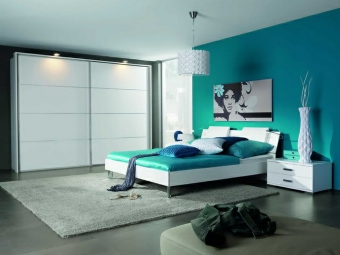 1001 id es pour une chambre bleu canard p trole et paon for Blue bedroom ideas for couples