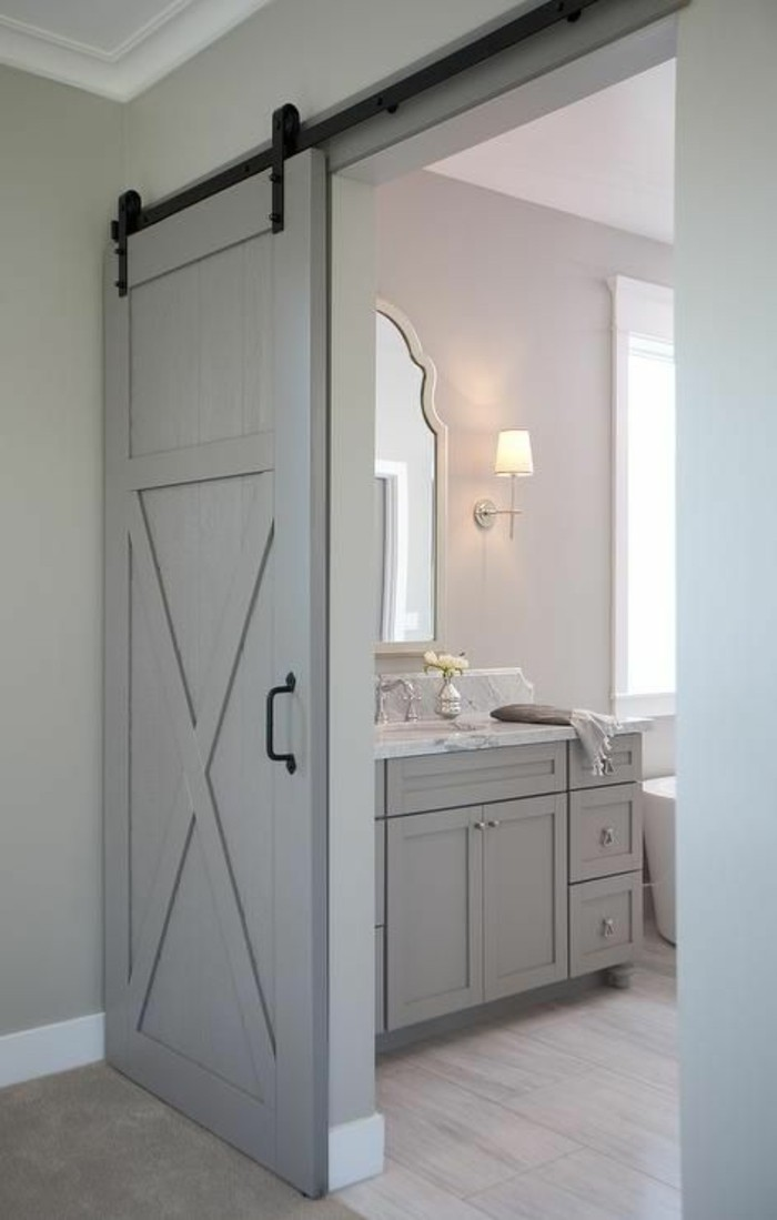 1001 id es pour int grer la porte de grange dans votre for Porte interieur gris