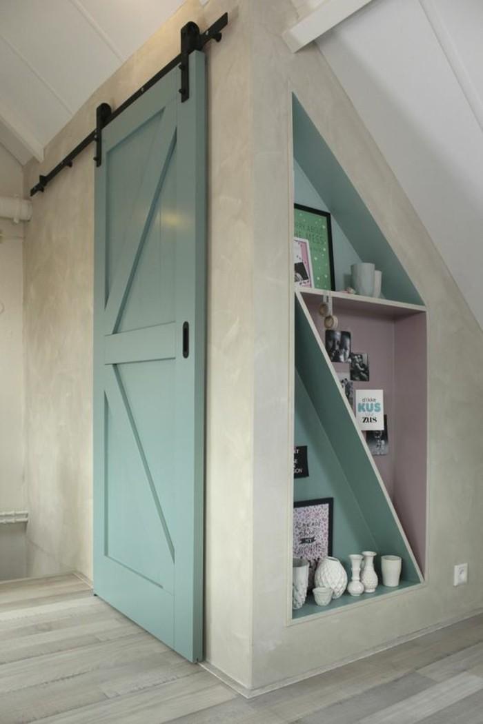 intérieur-moderne-blanc-et-vert-menthe-à-l'eauè-porte-de-grange-moderne