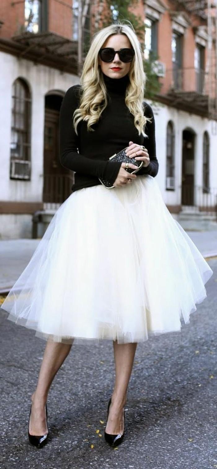 jupe-tutu-tenue-femme-chic-escarpins-noirs-blouse-noire