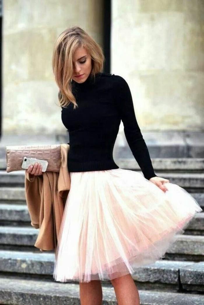 jupe-tutu-veste-camel-jupe-tulle-rose-blouse-noire-col-cheminee