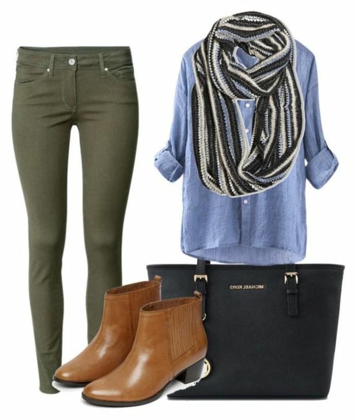 les-couleurs-qui-vont-ensemble-pour-s-habiller-chemise-en-jean-bottines-marron-foulard-noir-et-gris
