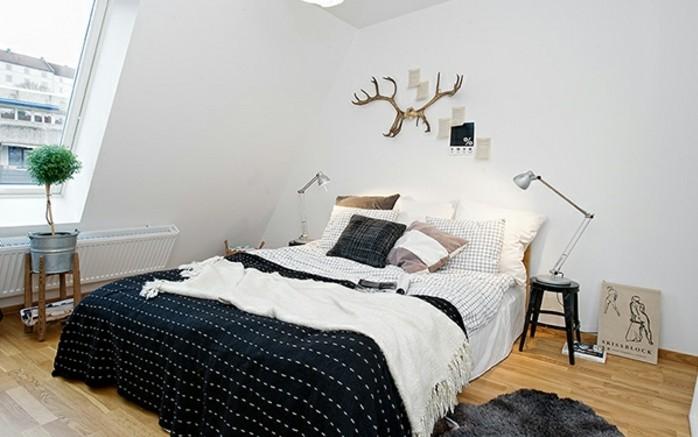 linge-de-lit-en-noir-et-blanc-tapis-gris-anthracite-stratifie-couleurs-claires-couleur-mur-blanche-decoration-scandinave