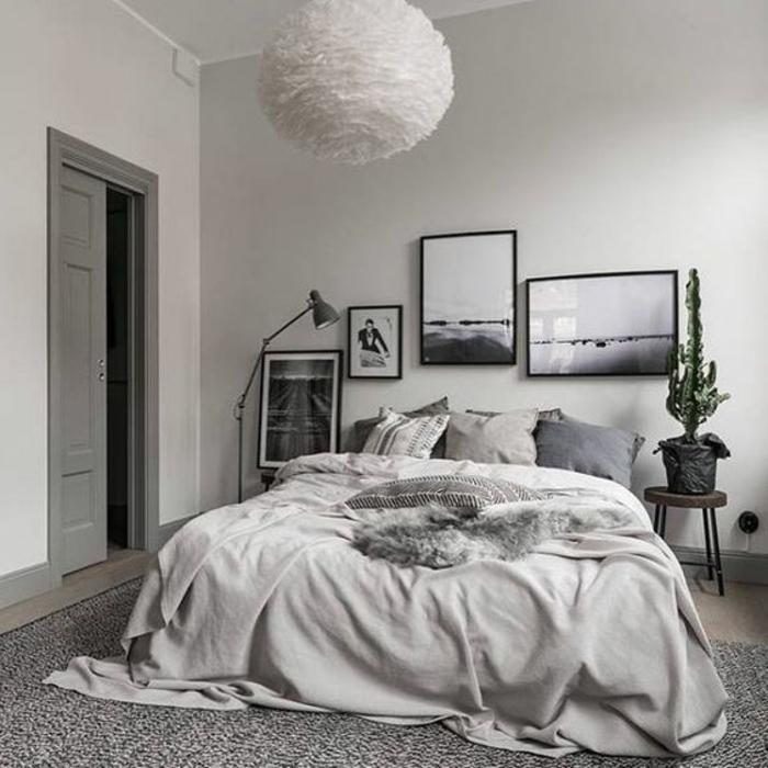 linge-de-maison-differentes-teintes-du-gris-idee-comment-amenager-une-chambre-scandinave-tapis-gris-photos-comme-deco-murale