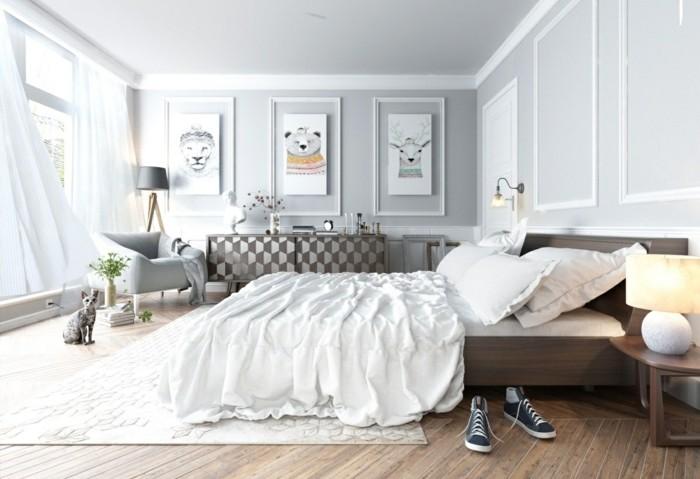 lit-en-bois-marron-avec-du-linge-de-lit-blanc-peinture-murale-grise-commode-a-motifs-geometriques-dessins-sympas-accroches-sur-les-murs-fauteuil-gris