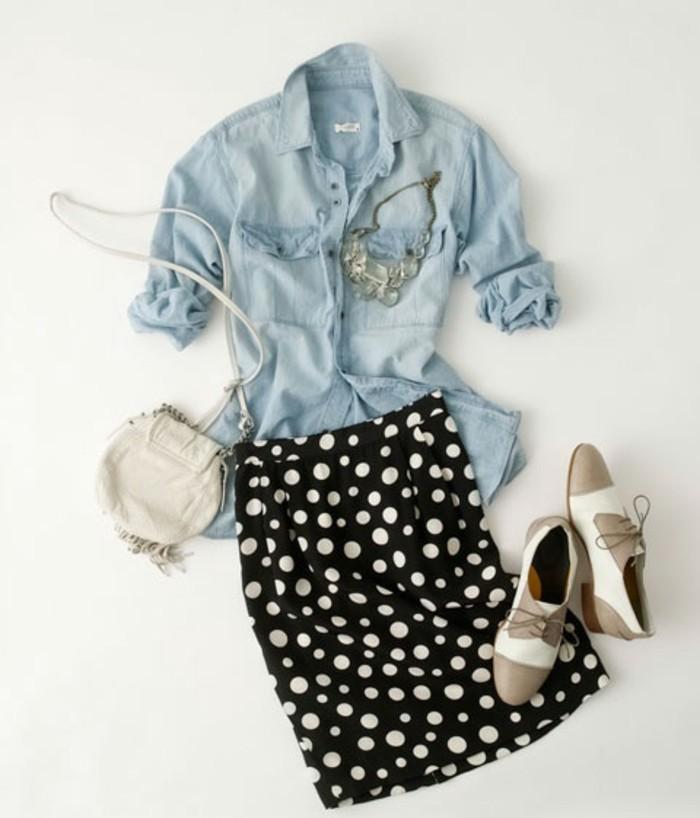 look-chemise-blanche-jupe-noire-en-points-blancs-bijoux-et-sac-a-main-blanc