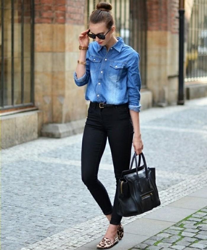 look-chemise-en-jean-lunettes-de-soleil-noir-montre-bracelet-en-or