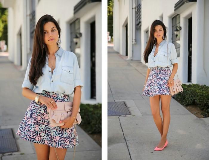 look-chemise-en-jean-vision-feminine-douce-d'ete-jupe-en-couleurs-bleu-et-rose
