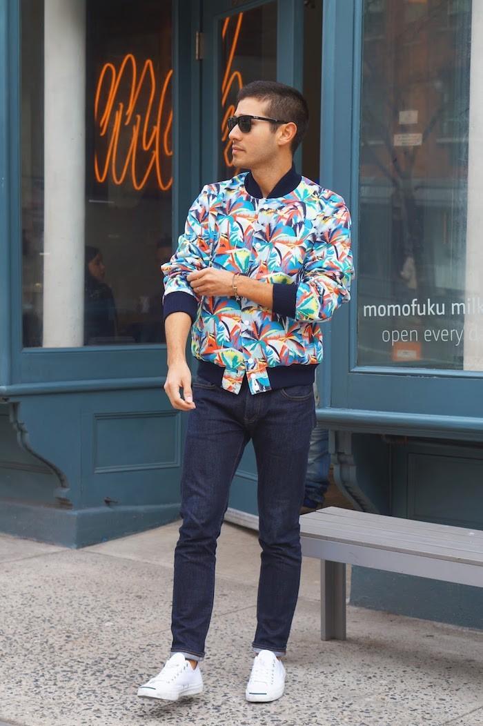maison-kitsune-ss15-saul-carrasco-trend-styled-style-blogger-nyc-blouson-americain-homme-veste-teddy-homme