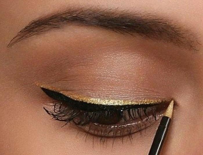 maquillage-chat-femme-touche-doree-au-dessus-de-la-ligne