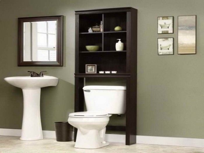 meuble colonne salle de bain armorie étagère wc noir bois eau