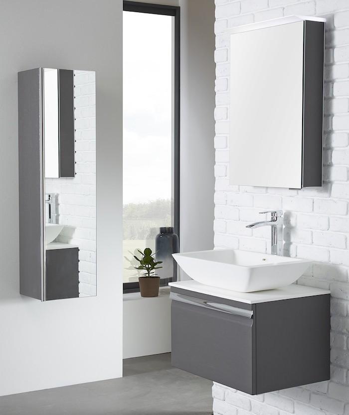 Meuble colonne murale blanc salle de bain for Meuble colonne salle de bain