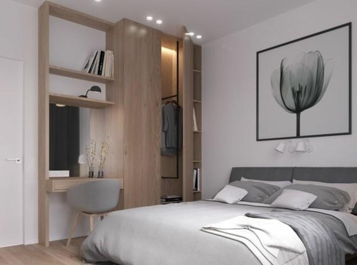 meuble-scandinave-en-bois-linge-de-lit-gris-mur-peinture-blanche-decoration-tableau-representant-une-tulipe-en-noir-et-blanc