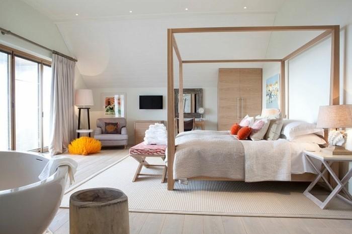 meuble-scandinave-lit-baldaquin-mobilier-en-bois-et-parquet-en-bois-chambre-spacieuse-avec-quelques-touches-de-couleur