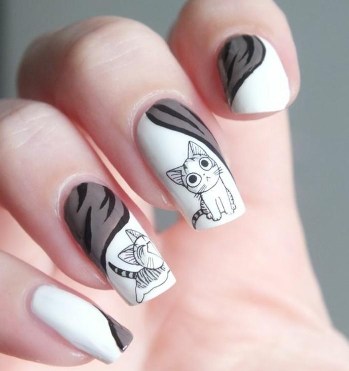 modele-ongle-blancs-inspiration-chat-dessin-bonne-humeur-amour-pour-les-animaux