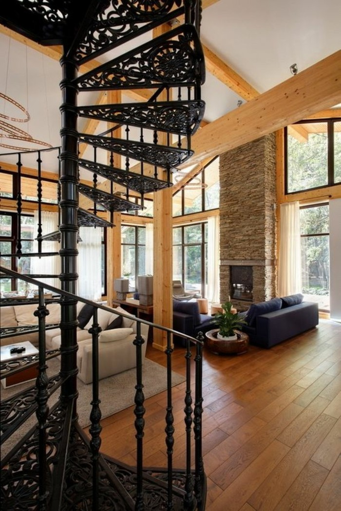 moderniser-une-cheminee-rustique-haut-plafond-chalet-grange