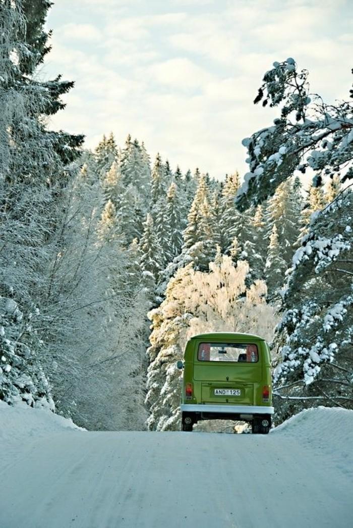 montagne-enneigée-caravane-verte-sentier-dans-la-forêt-sapins-enneigés-soleil-brillant