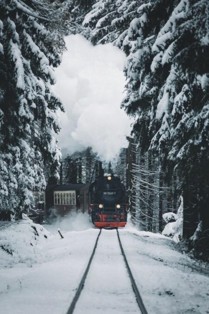 montagne-enneigée-locomotive-de-train-rouge-et-noir-sapins-enneigés