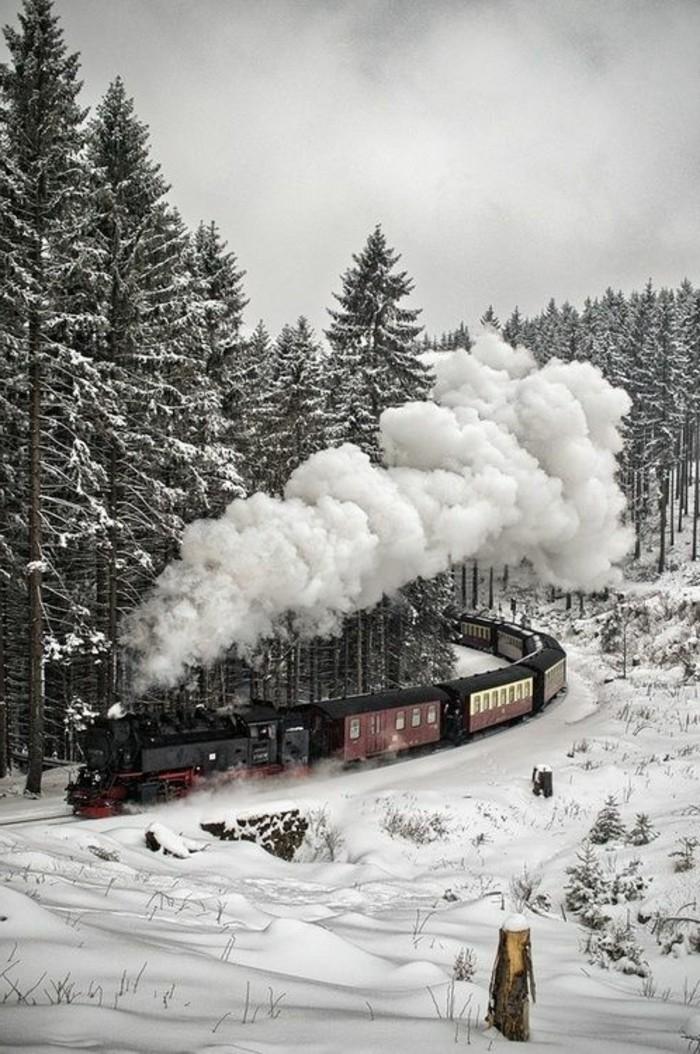 montagne-enneigée-vue-d'en-haut-locomotive-train-rouge-et-noir-sapins