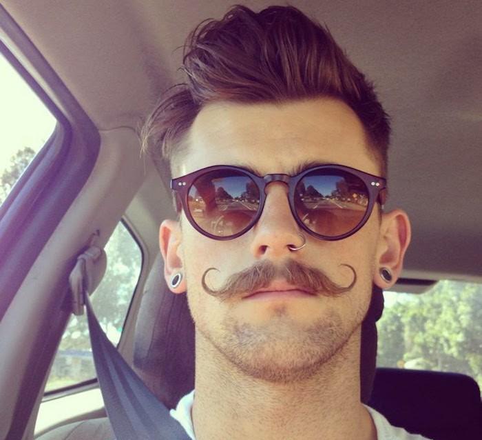 moustache homme courbes fines style hipster vintage lunettes rayban old school wayfarer coupe pompadour