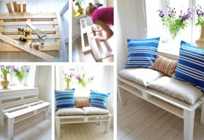 pallette-en-bois-transformée-en-un-banc-palette-diy-banc-customisé-couleur-blanche-coussins-a-rayures