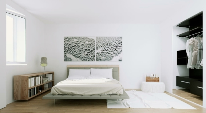 parquet-clair-chambre-scandinave-etagere-sur-le-sol-lit-moderne-et-dressing-design-decor-blanc