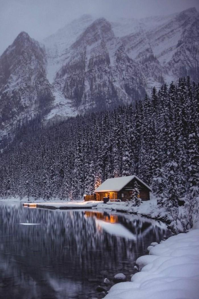 paysage-montagne-neige-cabine-en-bois-lumières-nature-forêt-sapins-enneigés
