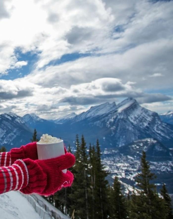paysage-montagne-neige-gants-rouges-tasse-de-chocolat-avec-de-la-crème-montagnes-vue