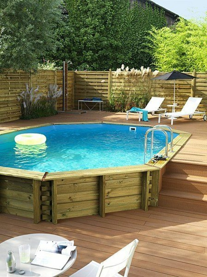 terrasse en bois avec piscine hors terre. Black Bedroom Furniture Sets. Home Design Ideas