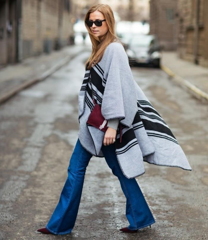 poncho-femme-hiver-cape-long-chaussures-et-sac-a-main-rouge