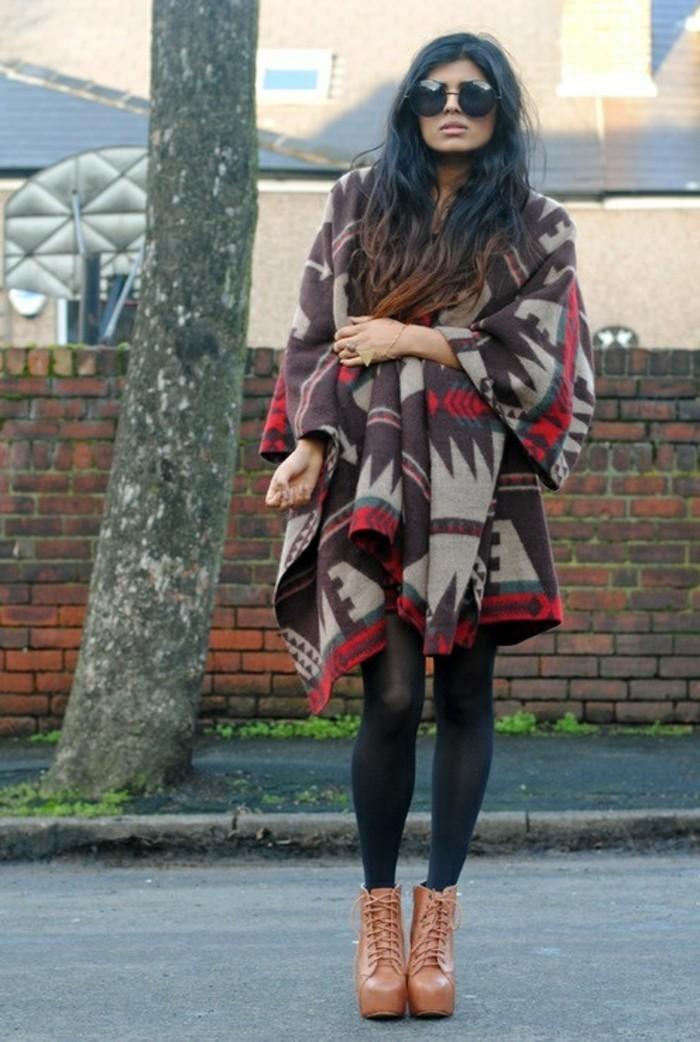 poncho-manteau-boho-hippie-chic-lunettes-de-soleil-noir