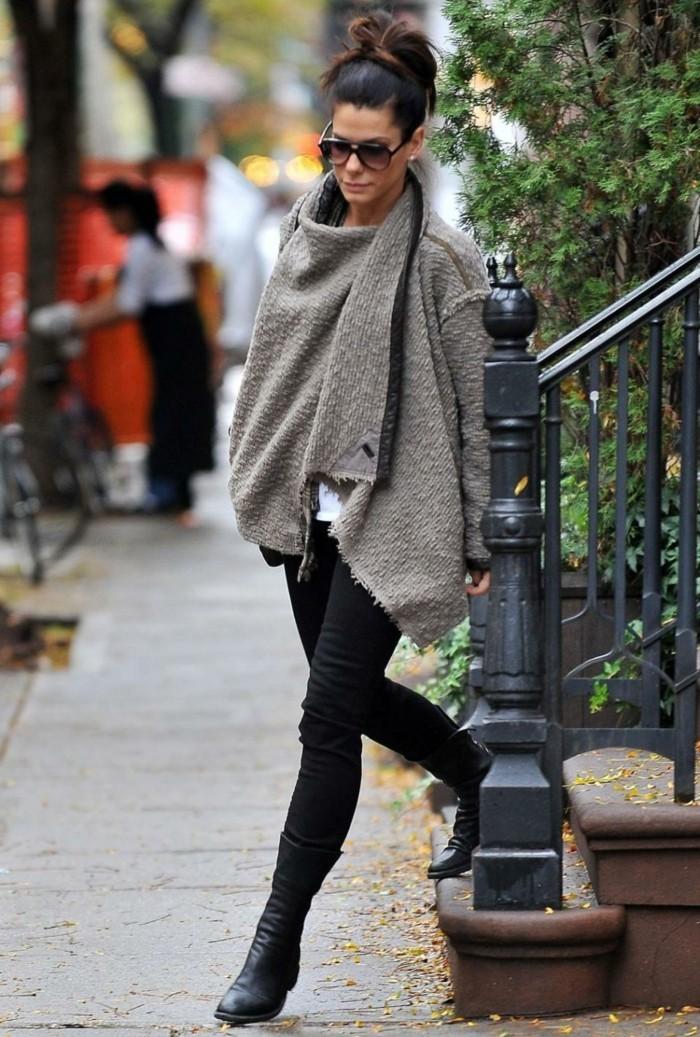 poncho-mode-élégance-féminine-vedette-cape-grise-pantalon-noir
