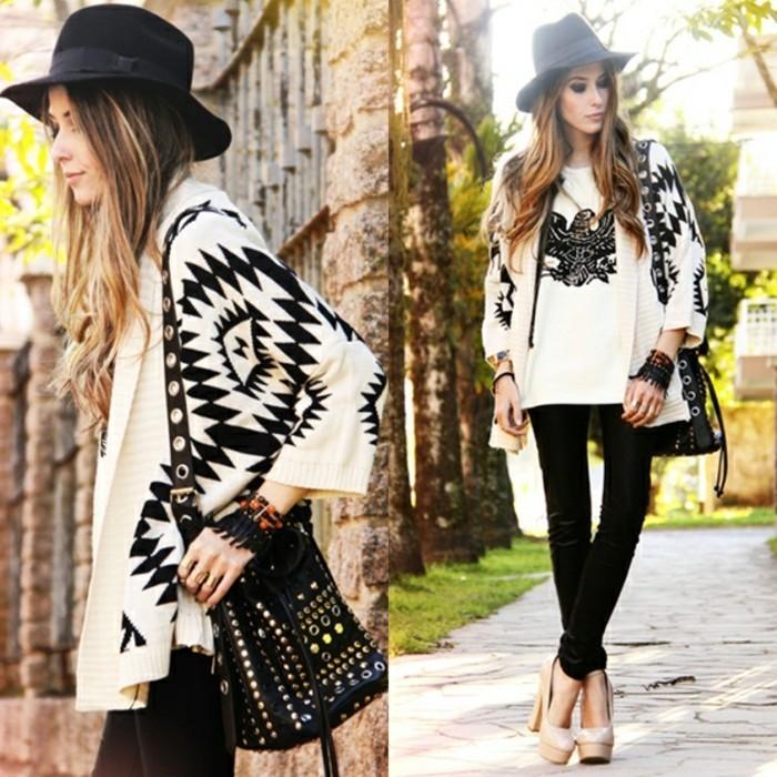 poncho-mode-boho-style-en-blanc-et-noir-chaussures-beiges-hautes