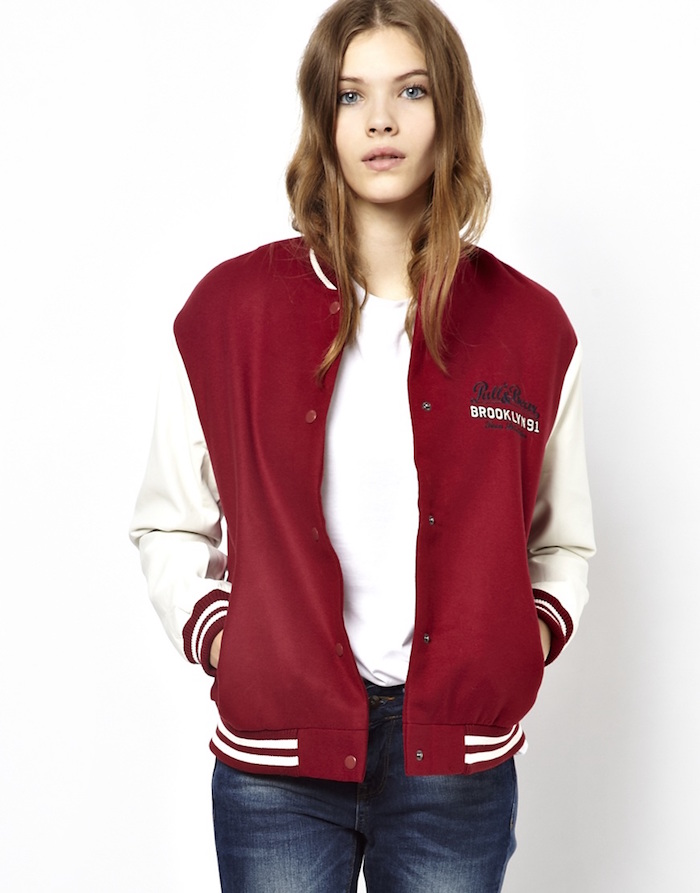pullbear-burgundy-veste-teddy-femme-baseball-cuir-rouge-blanc