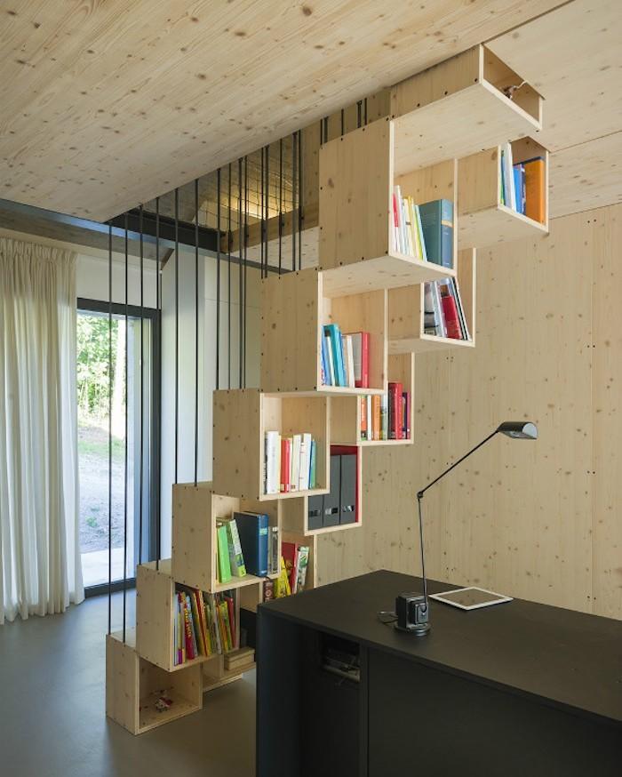 1001 id es biblioth que escalier des marches et des livres pour s 39 l - Escalier cube pour mezzanine ...
