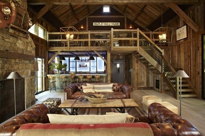 renovation-grange-canapes-en-cuir-coussins-doux-cheminee-en-pierre-lampes-hautes-bar