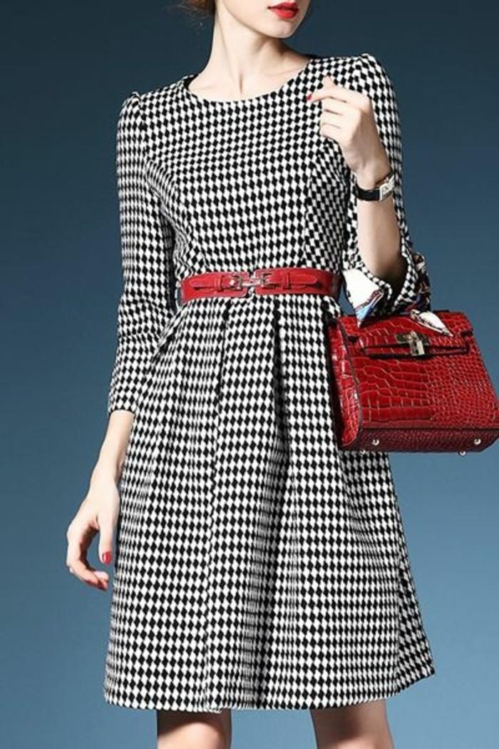 robe-de-laine-à-pépites-noir-et-blanc